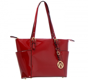 Patent Leather Tote Bag E1009 36868 - Red