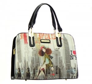 Patent Leather Graphic I love NY Design Handbag T1516 36883 Black