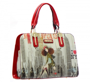 Patent Leather Graphic I love NY Design Handbag T1516 36883 Red
