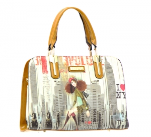 Patent Leather Graphic I love NY Design Handbag T1516 36883 Tan