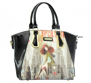 Patent Leather Graphic I love NY Design Handbag T1517 36886 Black