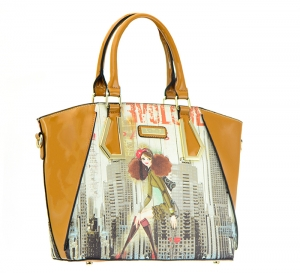 Patent Leather Graphic I love NY Design Handbag T1517 36886  Tan