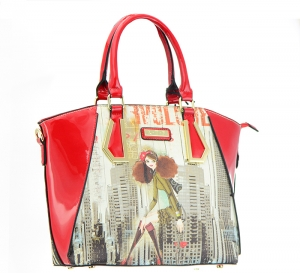 Patent Leather Graphic I love NY Design Handbag T1517 36886 Red