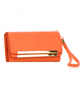 Faux Leather Wallet W872 36907 - Coral