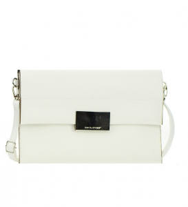 David  Jones Metallic Faux Leather Clutch Purse Cm3045 36940 White
