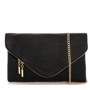 Large Clutch Design Faux Leather Classic Style WU024 36986 Black