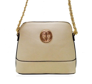 Faux Leather Gold Circle Accent Messenger Bag WU026 36992 Beige