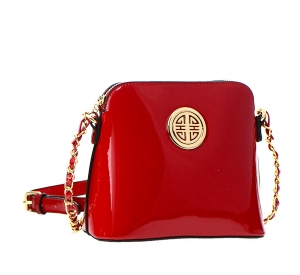 Patent Faux Leather Gold Circle Accent Messenger Bag E025 37002 Red