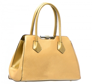 Patent Leather Metal Lock Closure Handbag L0233 37042 Gold
