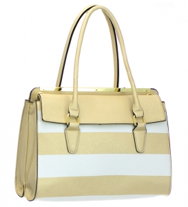 Faux Leather Striped Shoulder Hand Bag T1541 37045 Gold