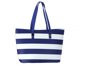 Striped Faux Leather Tote Bag 50962 37132 Blue.