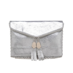 Urban Expressions Brooklyn Envelope  Leather Clutch Purse 11583A-UR 37150 Silver