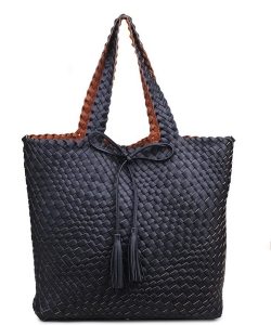 Urban Expressions Weaved Pattern Hand Bag 9723A 37185 Black / Cognac