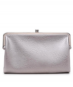 Urban Expressions Faux Leather Wallet  Metal hardware Complements Classic Style 7287A-UR Silver