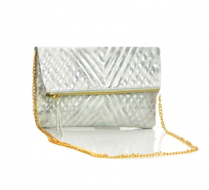 Woven contrast Front Flap Leather Clutch Purse BGW1630 37208 Silver
