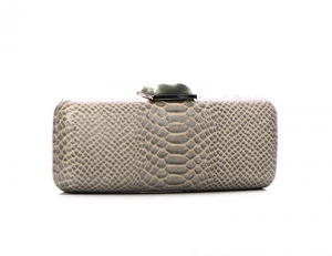Animal Skin Pattern Stone Metal Clutch Purse 2624-UR 37222 Gray