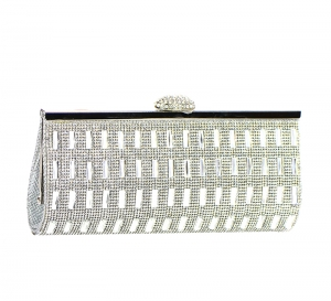 Rhinestone Embellished Clutch Purse H5510 37228 Silver