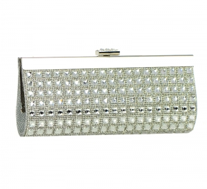 Rhinestone Embellished Clutch Purse H5512 37234 Silver