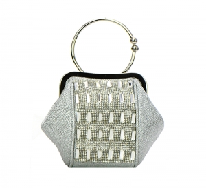 Embellished Clutch Purse W119 37240 Silver