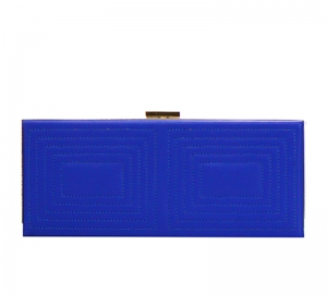 Stitched Design Metal Case Clutch Purse H1601 37250 Blue