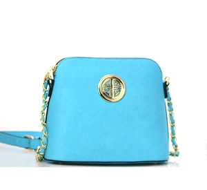 Faux Leather Gold Circle Accent Messenger Bag WU025 37270 Blue