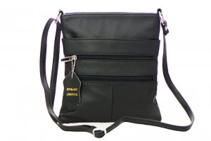 Genuine Leather Messenger Bag RM011 37285 Black