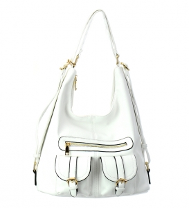 Faux Leather Hobo Bag OB3071 37309 White