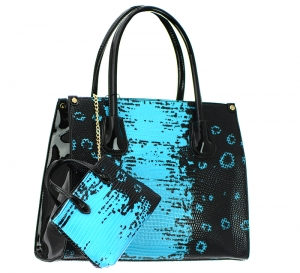 Animal Skin Faux Leather Shoulder Bag LF1638 37341 Black/Blue