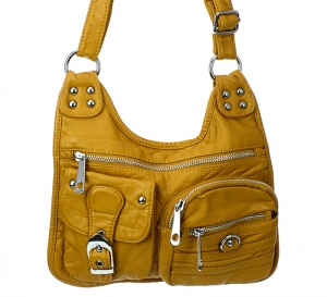 Vegan Leather Crossbody Messenger Fanny Pack S015-MEI 37424 Yellow