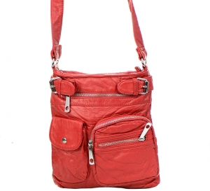 Vegan Leather Crossbody Hobo Messenger Back-Pack 30296-MEI 37425 Red