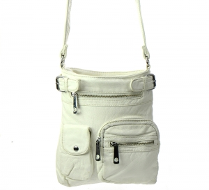 Vegan Leather Crossbody Hobo Messenger Back-Pack 30296-MEI 37425 White