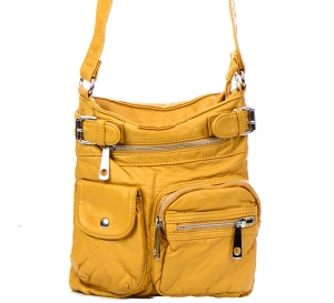 Vegan Leather Crossbody Hobo Messenger Back-Pack  30296-MEI 37425 Yellow