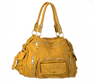 Faux Leather Shoulder Hand Bag AK131-MEI 37426 Yellow