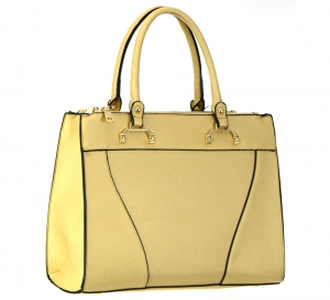Faux Leather Shoulder Hand Bag T1570 37446 Gold