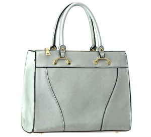 Faux Leather Shoulder Hand Bag T1570 37446 Silver
