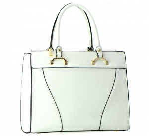 Faux Leather  Shoulder Hand Bag T1570 37446 White
