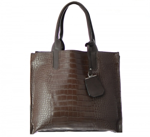 David Jones Animal Skin Tote Faux Leather Shoulder Hand Bag CM2759 37509 Dark Brown