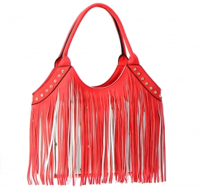 Faux Leather Fringe Tote Bag SS030 37559 Red