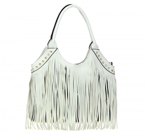 Faux Leather Fringe Tote Bag SS030 37559 White