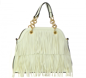 Faux Leather Fringe Handbag LS0385 37564 White
