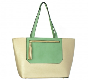 Faux Leather Tote Handbag BGT6645 37599 Gold/Mint