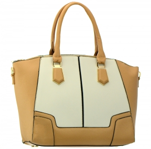 Faux Leather  Shoulder Hand Bag MY8770 37657 Tan / Beige