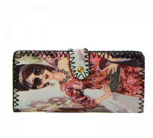 Fashion Girl Print Faux Leather Wallet GWT99-1855 37685