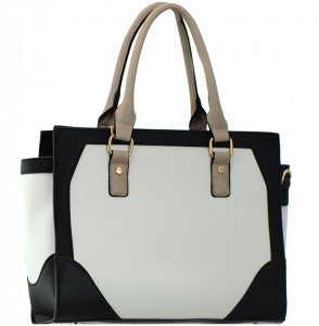 Faux Leather  Shoulder Hand Bag BGT8661 37753 White/ Black