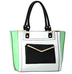 Faux Leather Shoulder Handbag BGW8663 37756 White/Mint
