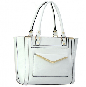 Faux Leather Shoulder Handbag BGW8663 37756 White