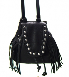 Faux Leather Fringe Backpack Purse GM7721 37767 Black