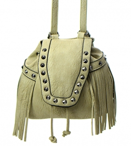 Faux Leather Fringe Backpack Purse GM7721 37767 Khaki