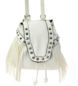 Faux Leather Fringe Backpack Purse GM7721 37767 White