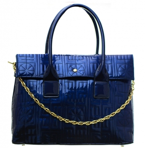 Patent Leather Shoulder Hand Bag LP2508 37772 Blue